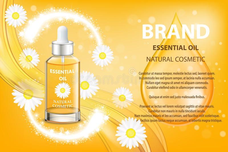 Camomile essential oil cosmetic product ad. Vector 3d illustration. Skin care bottle template design. Face and body. Natural floral oil royalty free illustration