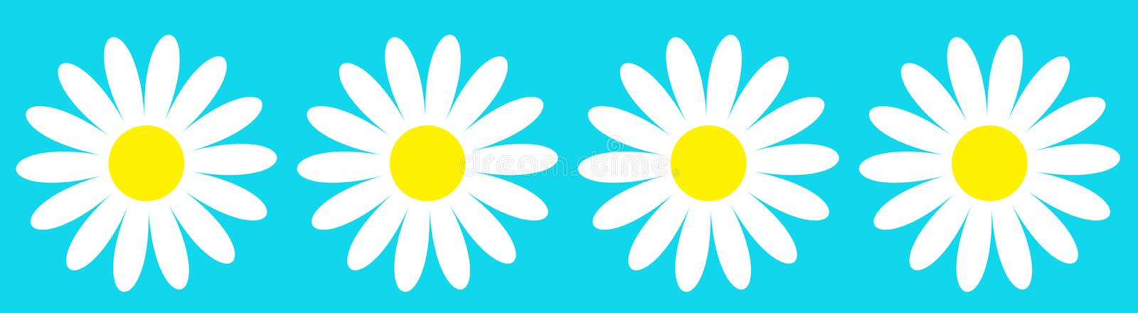 Camomile icon set line. Four white daisy chamomile. Cute round flower plant collection. Growing concept. Love card symbol. Flat. Design. Blue background vector illustration