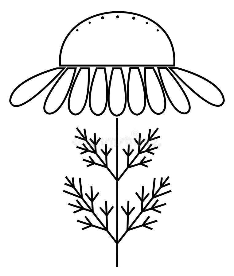 Camomilla, illustrazione disegnata a mano floreale di vettore dell'incisione del fiore della camomilla Fiore bianco su bianco illustrazione vettoriale