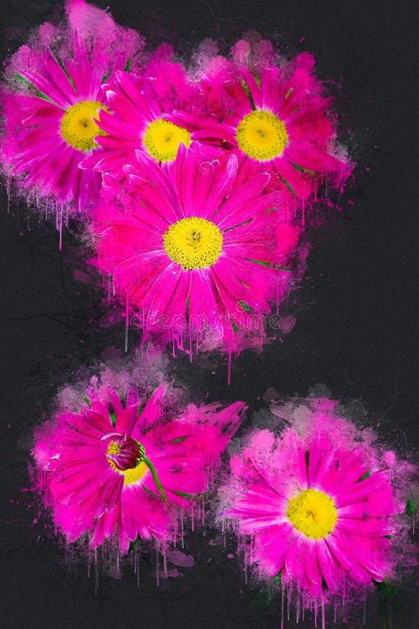 Camomilla rosa di fioritura luminosa nel giardino Inchiostro acrilico fotografia stock libera da diritti