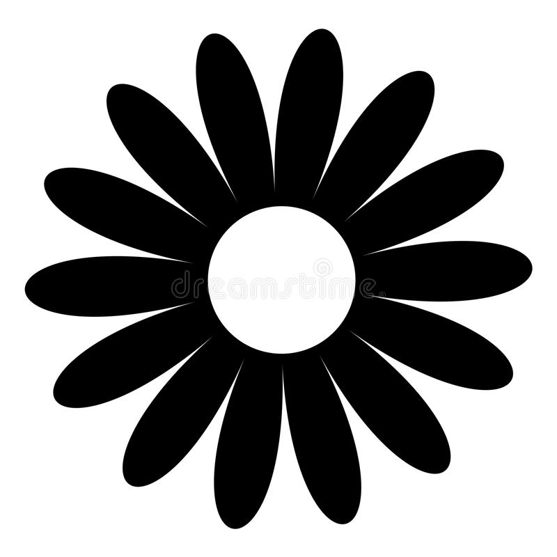 Camomille de marguerite Forme noire Collection mignonne d'usine de fleur Carte d'amour Icône de camomille Concept croissant Conce illustration de vecteur