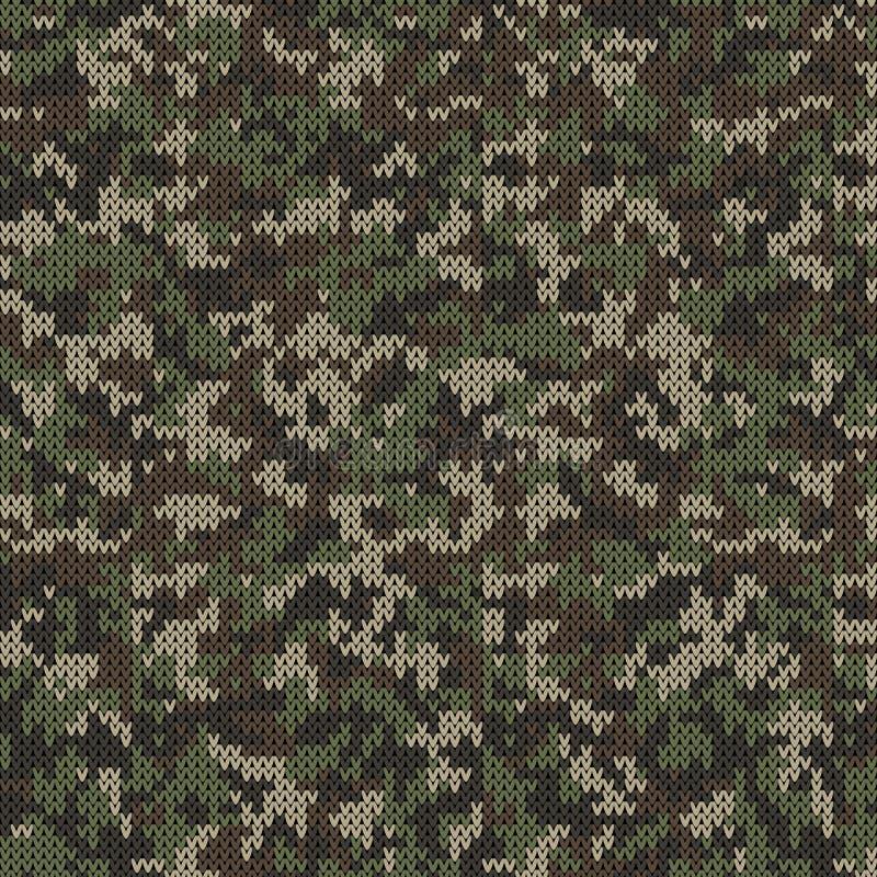 Camouflage Aziatisch Stijl Gebreid Patroon in Donkergroene Kleuren vector illustratie