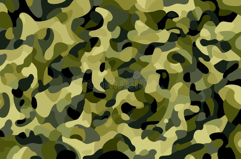 Camouflage background. Green, brown, black, olive colors forest texture. Trendy style camo. Print. Military Theme royalty free illustration
