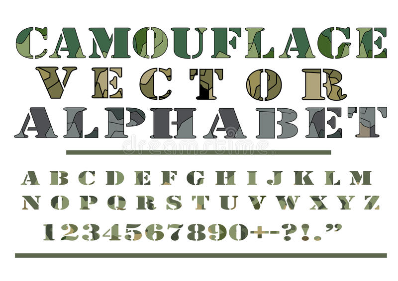 Camouflage Camo Pattern Style Vector Letter Alphabet Font vector illustration