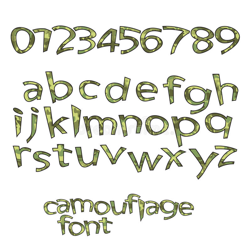 Camouflage font vector illustration