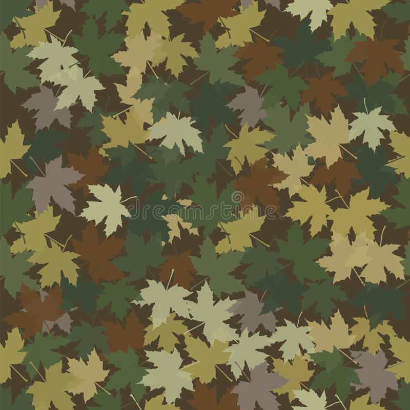Camouflage in the form of fallen maple leaves. Seamless vector pattern for hunters, soldiers and tourists. Hides human figure and location in the deciduous royalty free illustration