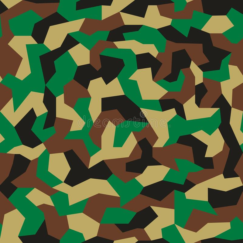 Camouflage with geometric pattern, seamless texture. Abstract trendy wallpaper in military style. Green khaki color background. royalty free illustration