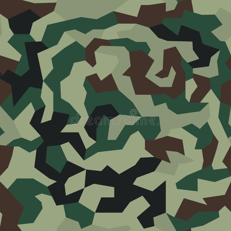Camouflage with geometric pattern, seamless texture. Abstract trendy wallpaper in military style. royalty free illustration