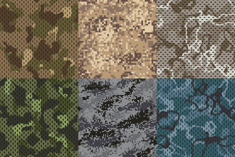 Camouflage kaki textuur Het bos en het zand vector geplaatste texturen van het camo opleverende patroon van de legerstof de naadl stock illustratie