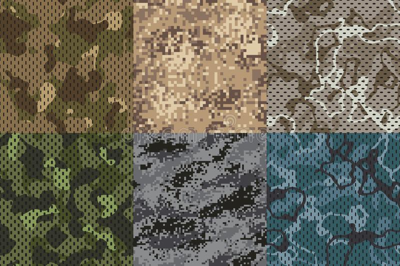 Camouflage khaki texture. Army fabric seamless forest and sand camo netting pattern vector textures set stock illustration