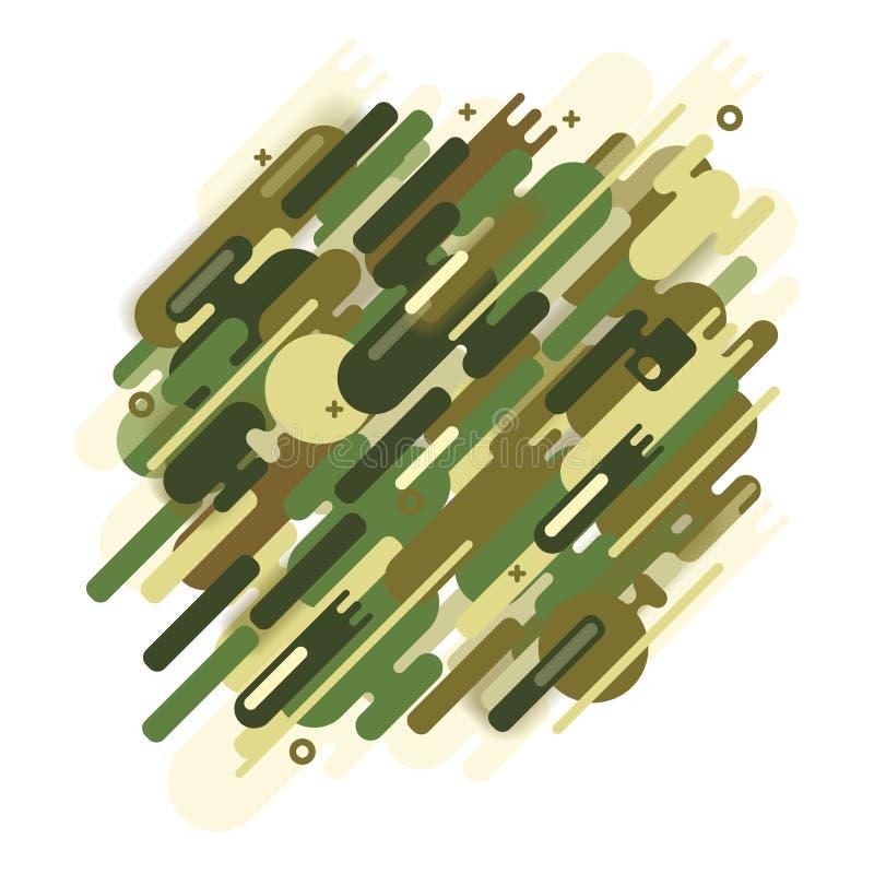 Camouflage, leger of de jacht gestileerde tekening van een beschermende vorm Abstract camouflagepatroon stock illustratie