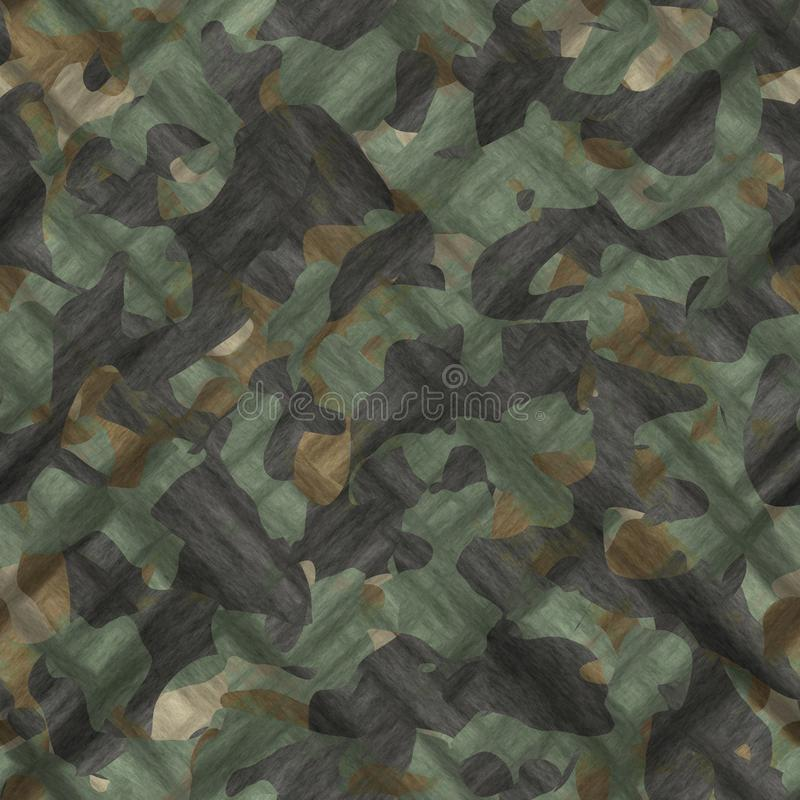 Camouflage pattern background seamless illustration. Classic clothing style masking camo repeat print. Green brown black olive col. Ors forest texture vector illustration