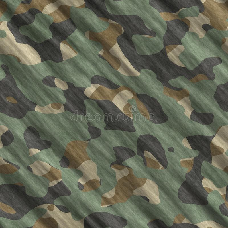 Camouflage pattern background seamless illustration. Classic clothing style masking camo repeat print. Green brown black olive col. Ors forest texture royalty free illustration