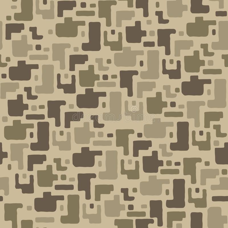 Free Camouflage Pattern Background, Seamless Vector Illustration. Beige, Brown, Ocher Colors Desert Texture. Stock Images - 111228114