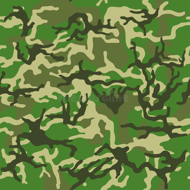 Camouflage pattern background seamless vector illustration. Classic clothing style masking camo repeat print. Green brown black ol stock illustration