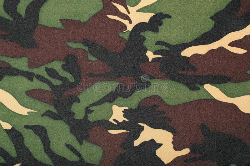 Camouflage pattern on fabric. Brown khaki black military print as background royalty free illustration