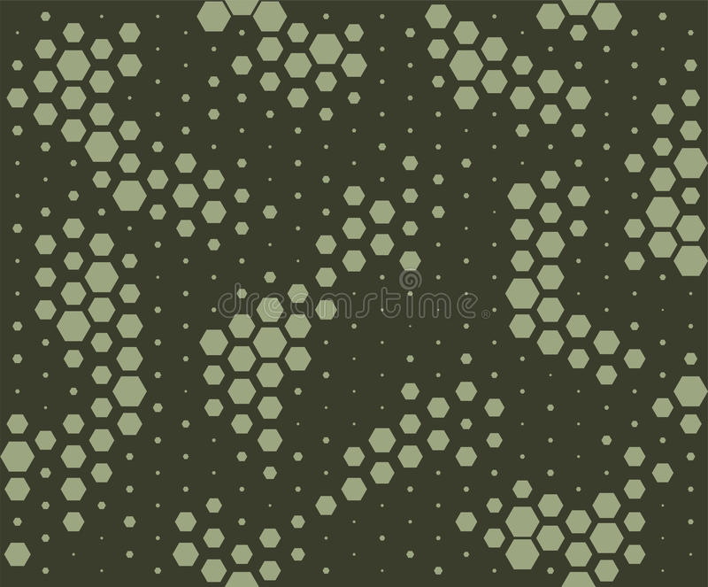 Camouflage pattern. Snake skin style, halftone seamless pattern. Green camo background royalty free illustration