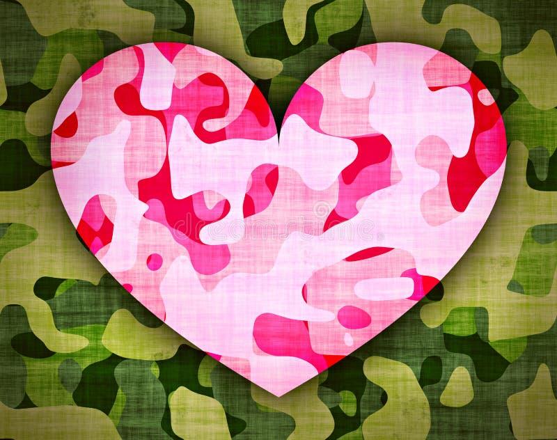 Camouflage pink heart stock illustration