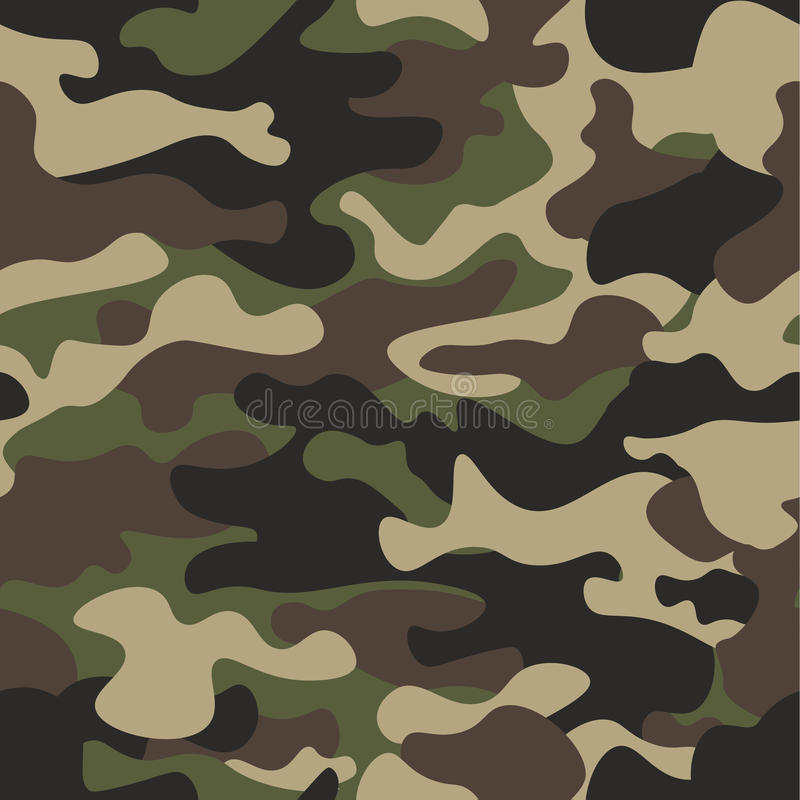 Camouflage seamless pattern background. Classic clothing style masking camo repeat print. Green brown black olive colors royalty free illustration