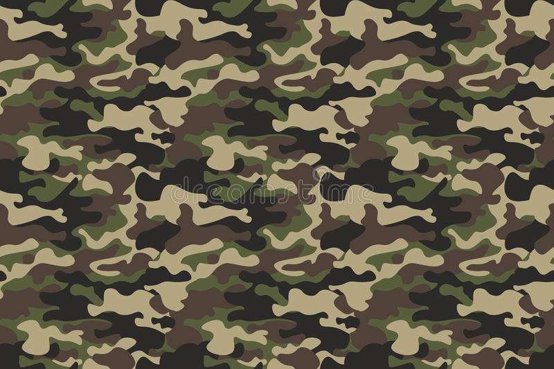 Camouflage seamless pattern background. Horizontal seamless banner. Classic clothing style masking camo repeat print. Green brown stock illustration