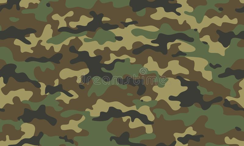 Camouflage seamless pattern. Trendy style camo, repeat. Vector illustration. Khaki texture, military army green hunting. Camouflage seamless pattern. Trendy stock illustration