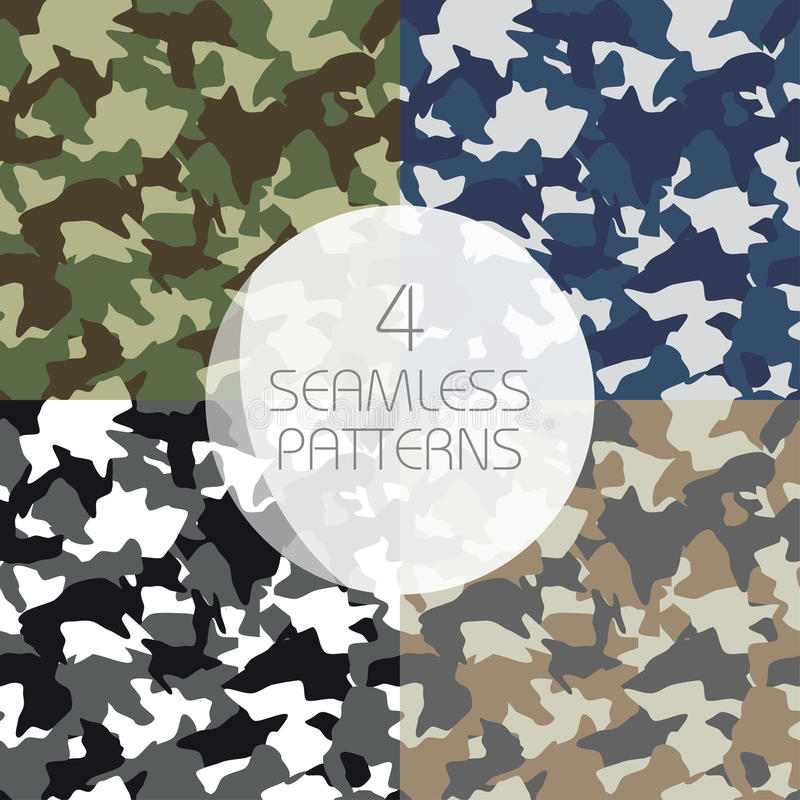 Camouflage seamless patterns set. Green, brown, olive colors forest texture, navy, winter military colors vector illustration