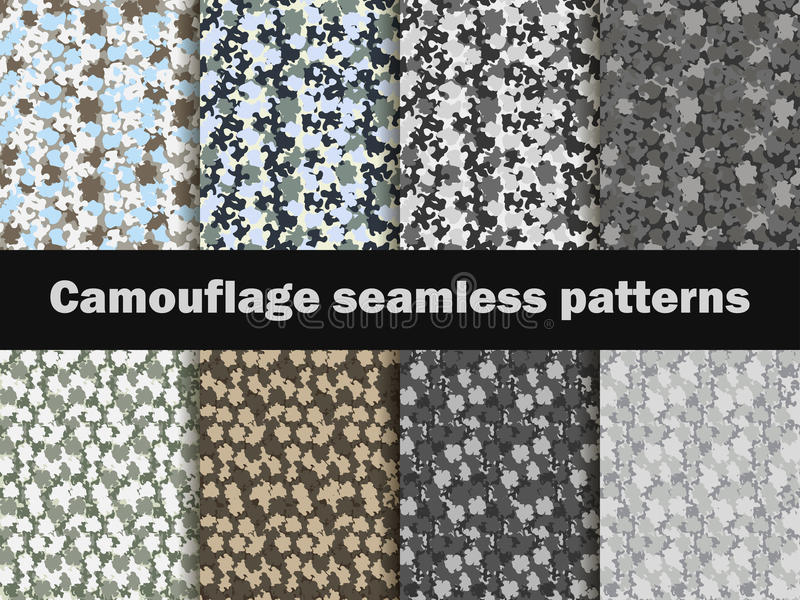 Camouflage seamless patterns. Urban pattern camouflage. Masking, vector stock illustration