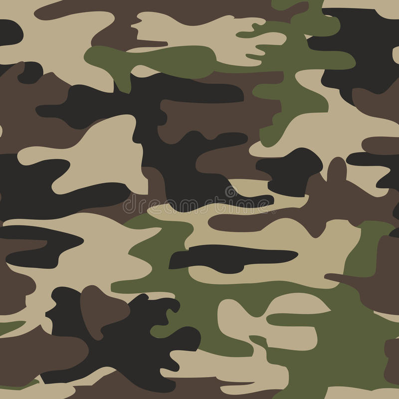 Camouflage seamless woodland pattern, vector illustration. Camouflage seamless pattern, woodland military design, army uniform clothing, hunting and fishing wear vector illustration