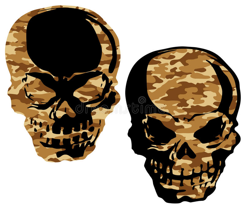 Camouflage skull,. I designed the skull and a camouflage handle It is a vector work royalty free illustration