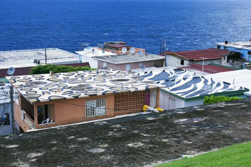 Camouflage Type Painting On The Roof Of Houses In San Juan, Puerto Rico.
