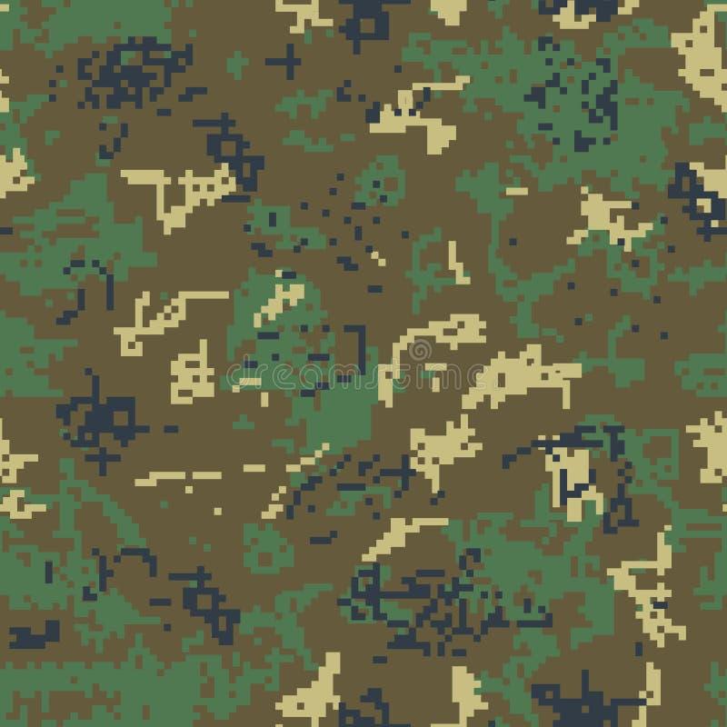Camouflage vert sans couture de modèle de pixel illustration libre de droits