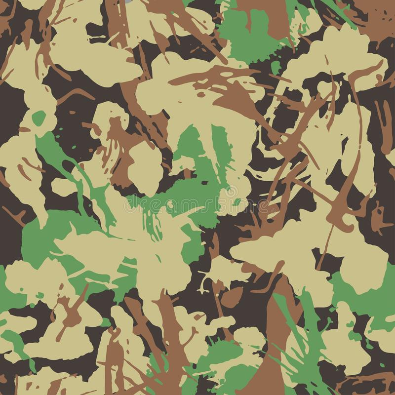 Free Camouflage With Strokes And Splashes Shape, Seamless Texture, Camo Pattern. Army Or Hunting Green Uniform. Royalty Free Stock Photo - 134023805