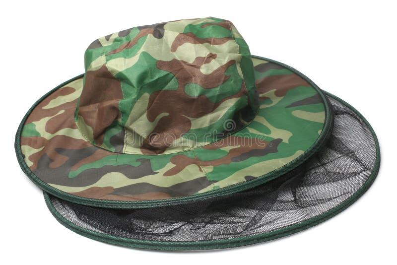 Camouflagehoed met klamboe royalty-vrije stock afbeeldingen