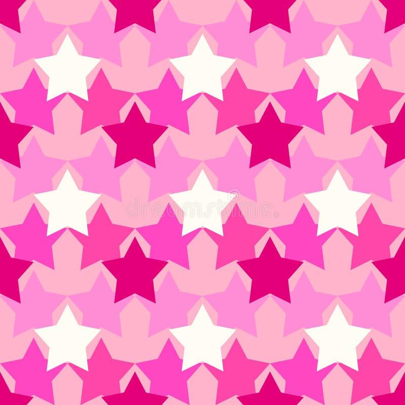 Camouflagepatroon met roze sterren stock afbeeldingen