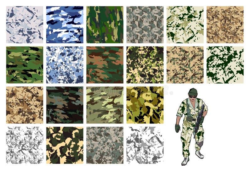 Camouflagereeks, vectorstoffenpatroon Kan voor achtergrondontwerp worden gebruikt stock illustratie