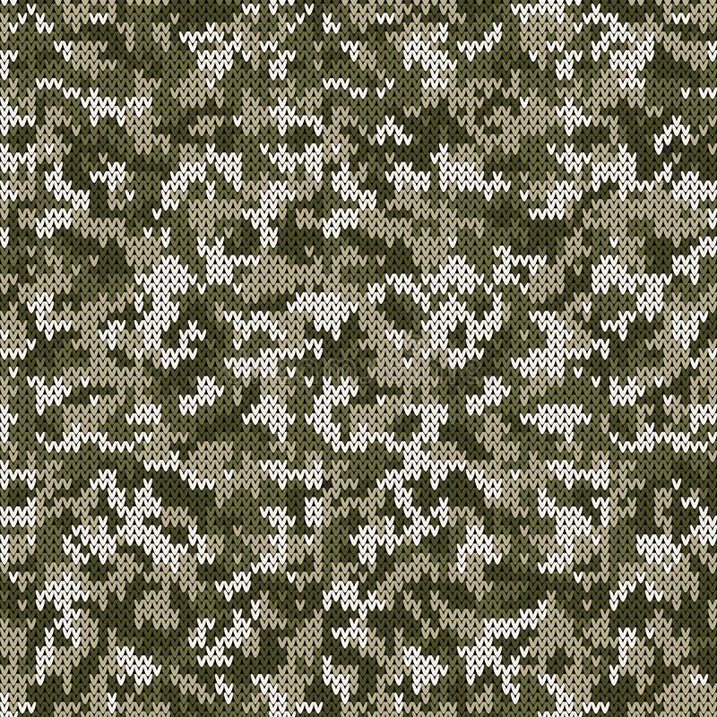 Camouflagestijl Gebreid Patroon in Lichtgroene Kleuren royalty-vrije illustratie