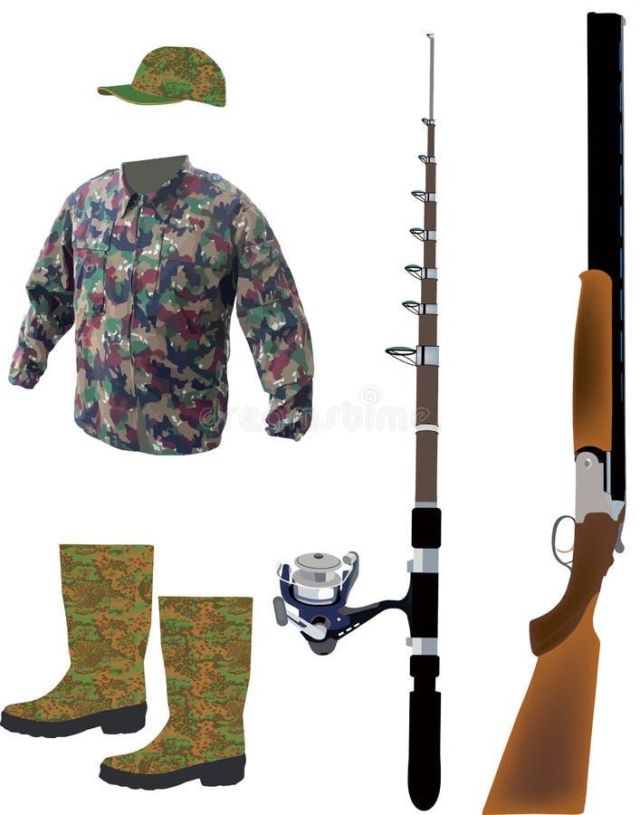 Camouflez les vêtements de sport pour chasser et pêcher illustration libre de droits
