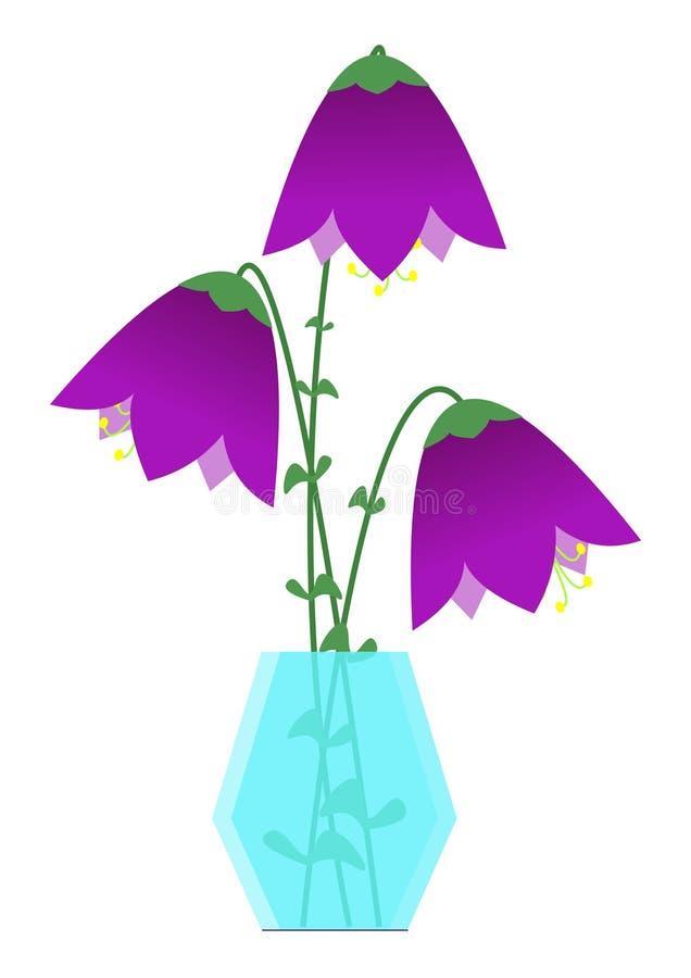 Campánulas púrpuras de las flores en el ejemplo de cristal del vector del florero stock de ilustración
