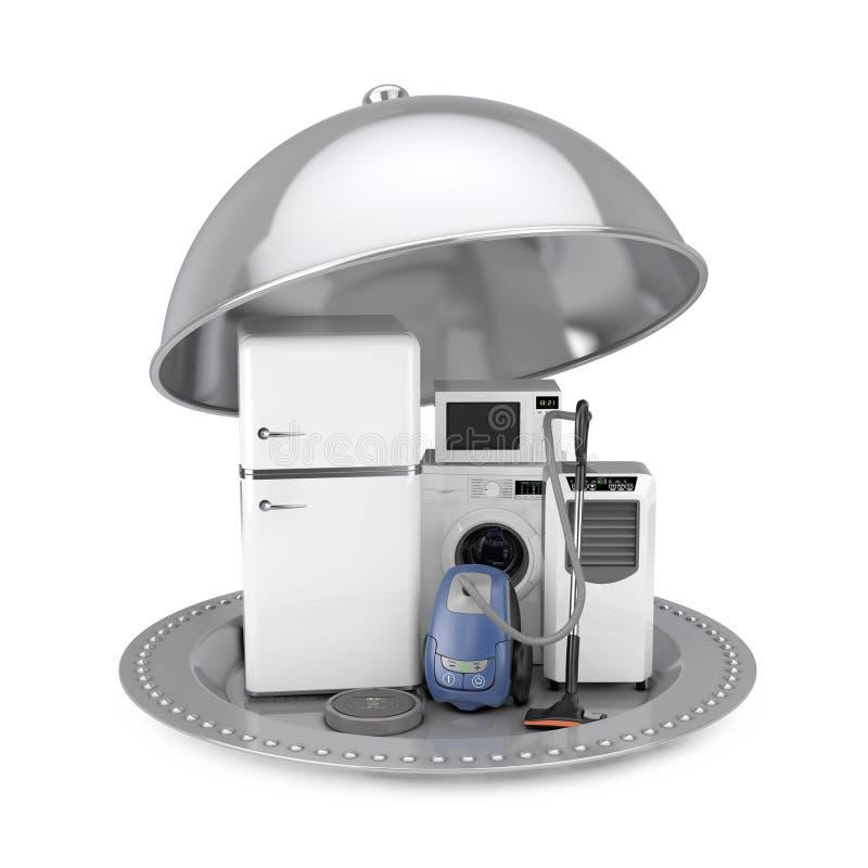 Campânula de prata do restaurante com os aparelhos eletrodomésticos ajustados rende 3D ilustração royalty free