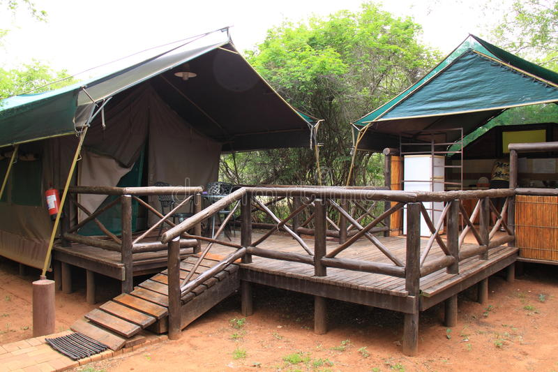 Camp accomodation safari tent Mkuze. Tented camp accomodation in the Mkuze national reserve. This camp is not fenced, so every animal can walk around stock photography