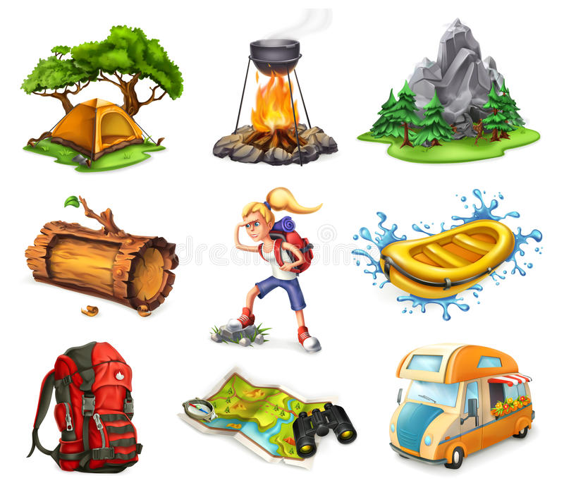 Camp and adventure, vector icons set vector illustration