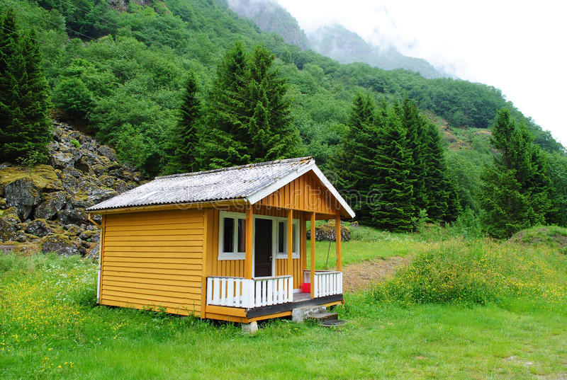 Camp cabin in Norway royalty free stock photos