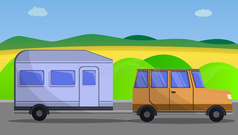 Camp car trailer concept banner, cartoon style. Camp car trailer concept banner. Cartoon illustration of camp car trailer vector concept banner for web design royalty free illustration