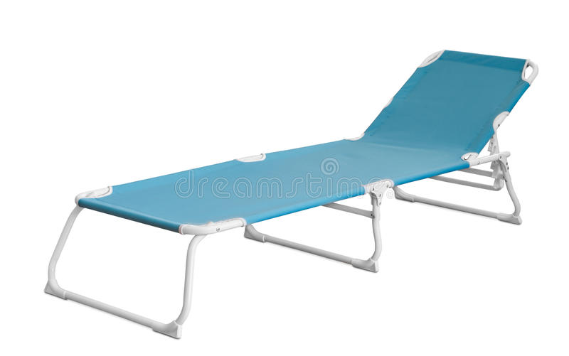 Camp cot. Blue camp cot isolated on white stock photography