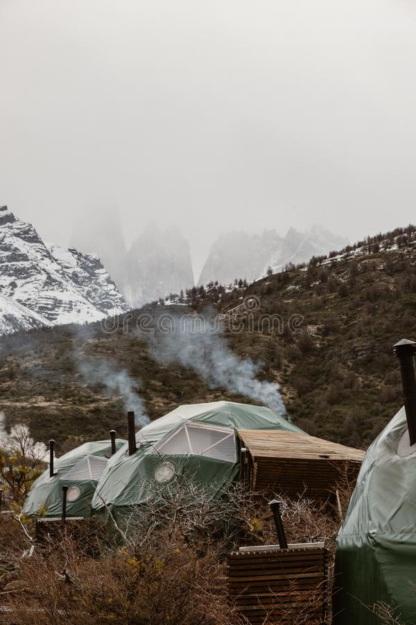 Camp d'Eco de Patagonia en Torres Del Paine image stock
