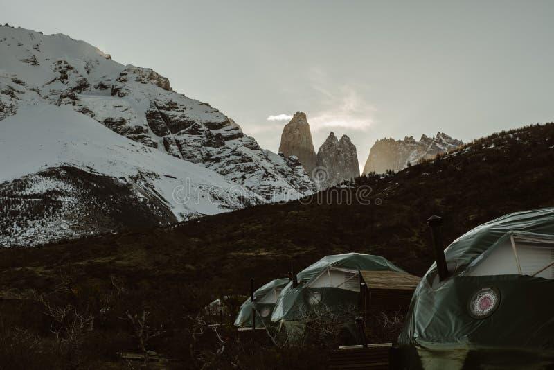 Camp d'Eco de Patagonia en Torres Del Paine photographie stock