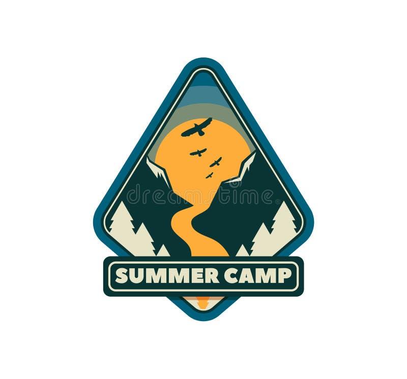 Camp d'exploration, emblème extrême de tourisme, conception de logo Autocollant sauvage de voyage illustration libre de droits