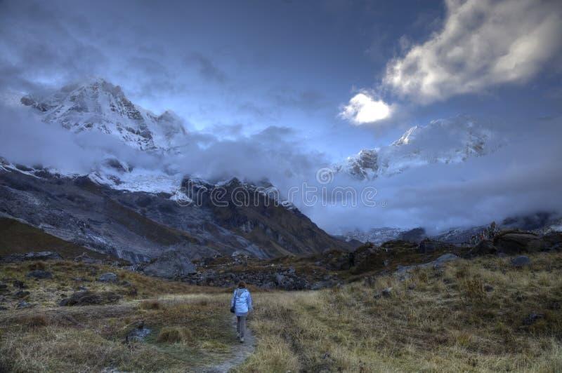 Camp de base de sanctuaire d'Annapurna photos stock