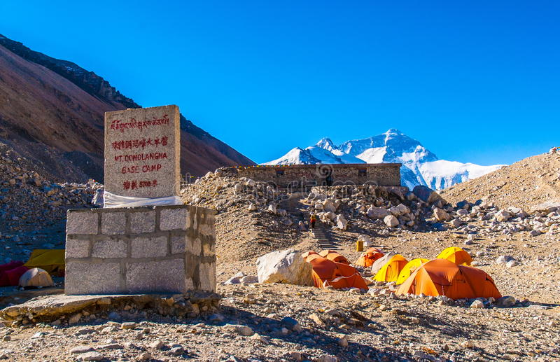 Camp de base tibétain de scène-Everest de plateau (bâti Qomolangma) photographie stock