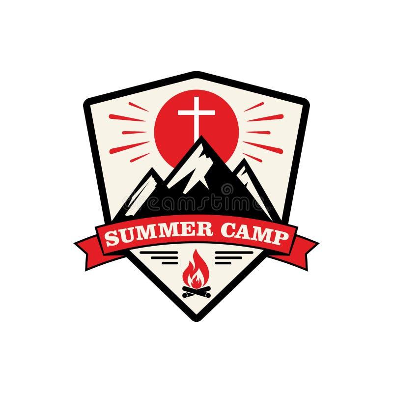 Camp de chrétien d'été de logo illustration libre de droits